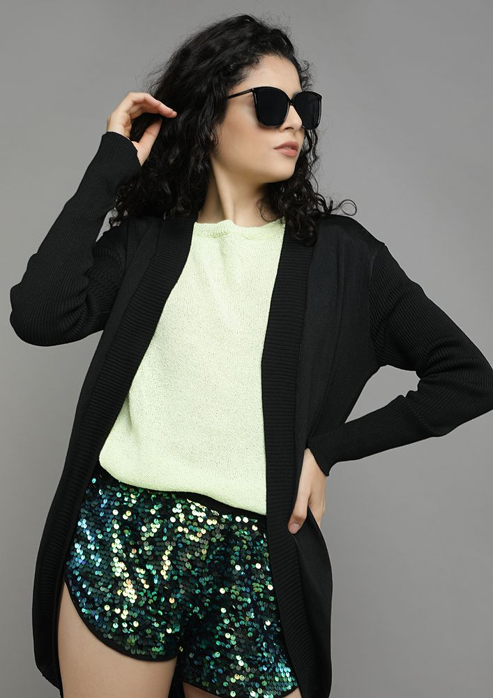 THIS TOO SHAWL PASS BLACK CARDIGAN