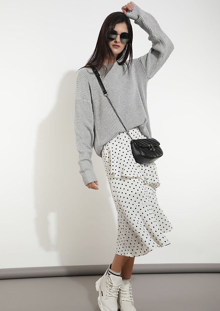 SERIOUSLY SCALLOPED GREY JUMPER