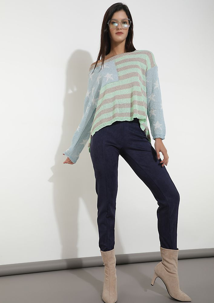 STAR POWERED TURQUOISE STRIPED JUMPER