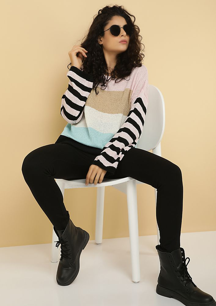 OBSESSED WITH COLORS BLACK STRIPED JUMPER