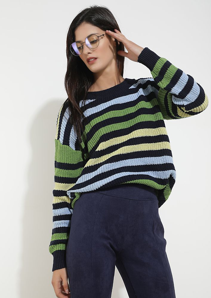 COLDER DAYS GREEN YELLOW STRIPED JUMPER