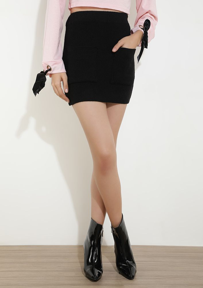 AT A STRETCH BLACK MINI BODYCON SKIRT