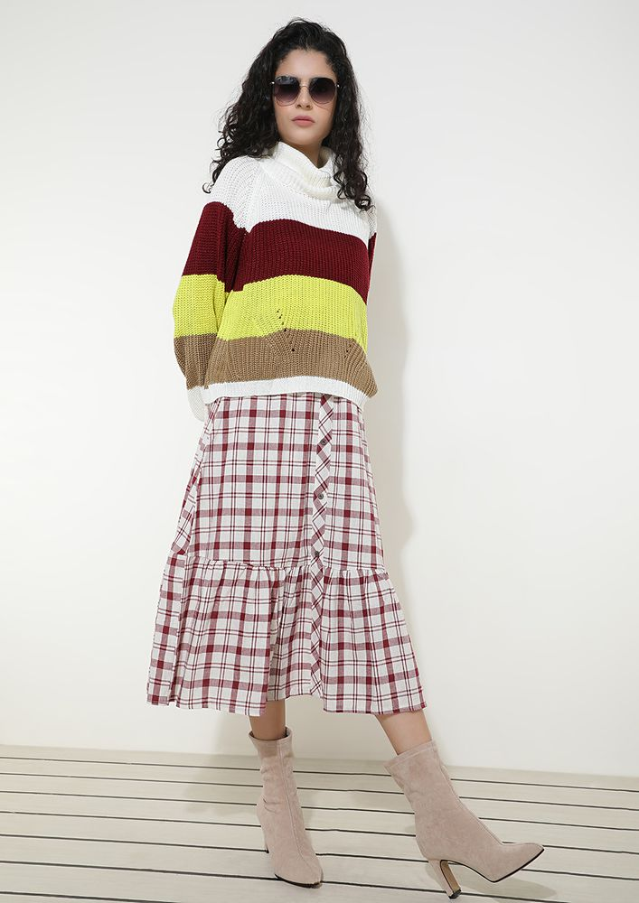 WHIMSICAL COLORBLOCK BURGUNDY STRIPED JUMPER