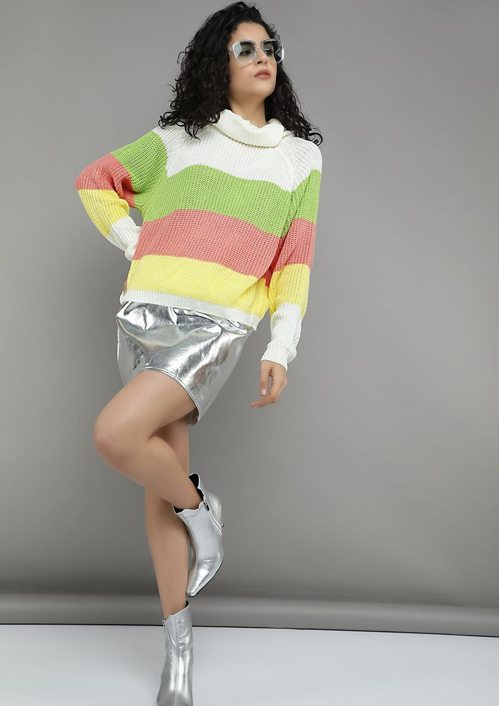 WHIMSICAL COLORBLOCK LEAF GREEN STRIPED JUMPER