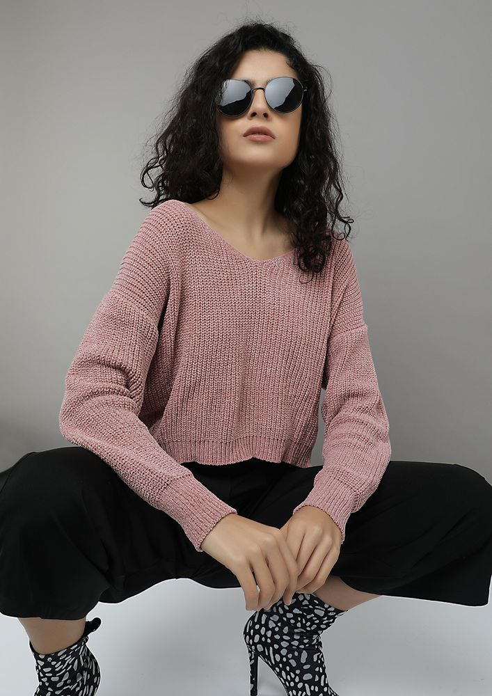 WEATHER RESET O'CLOCK POWDER PINK CROPPED JUMPER