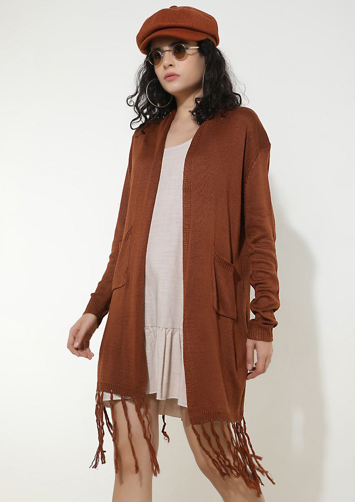 FRINGE ZONED BROWN KNITTED SHRUG