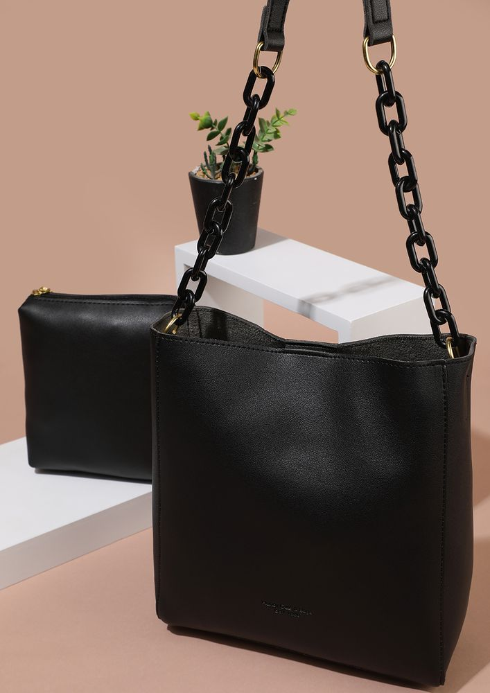 TANTALIZING CLASSICS BLACK TOTE BAG