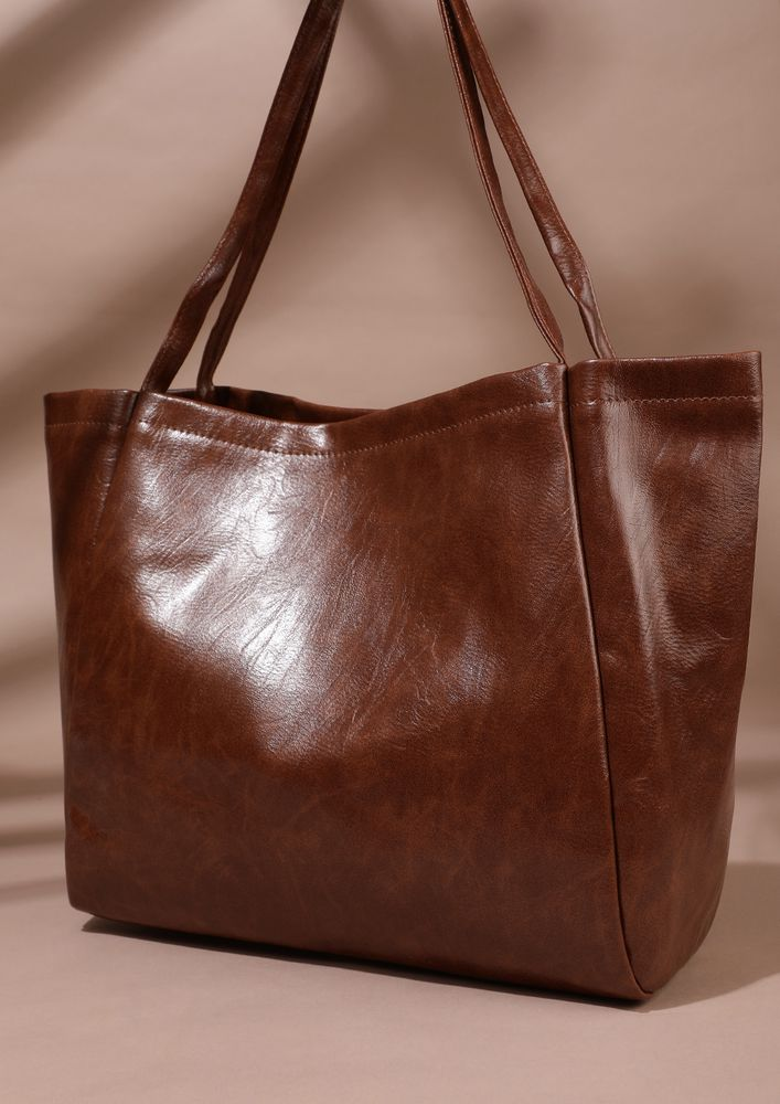 NEVER FULL OF THINGS BROWN TOTE BAG