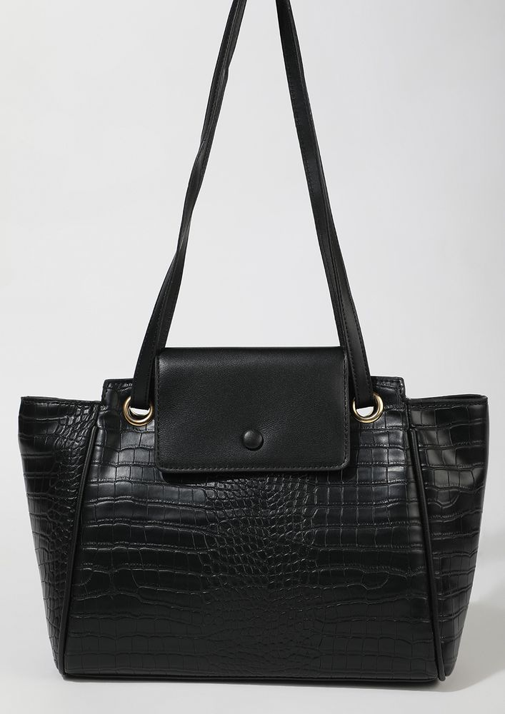 WHIMS AND FANCIES IN BLACK TOTE BAG