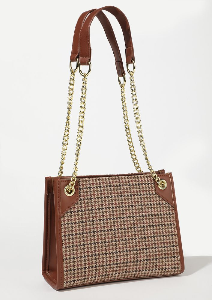 PATTERN FALL OUT BROWN TOTE BAG