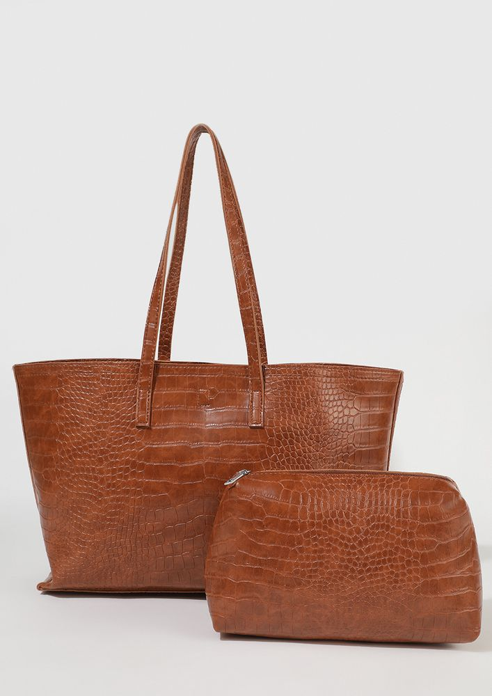 ATTENTION PLEASE TAN BROWN TOTE BAG