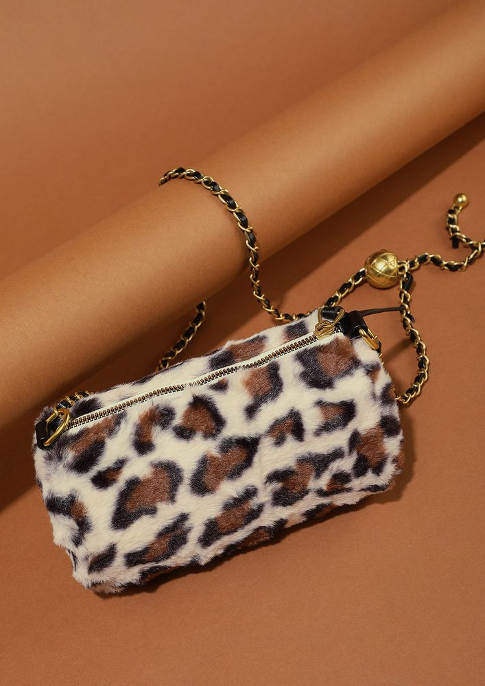DON'T TAME THIS LEOPARD BEIGE CYLINDRICAL SLING
