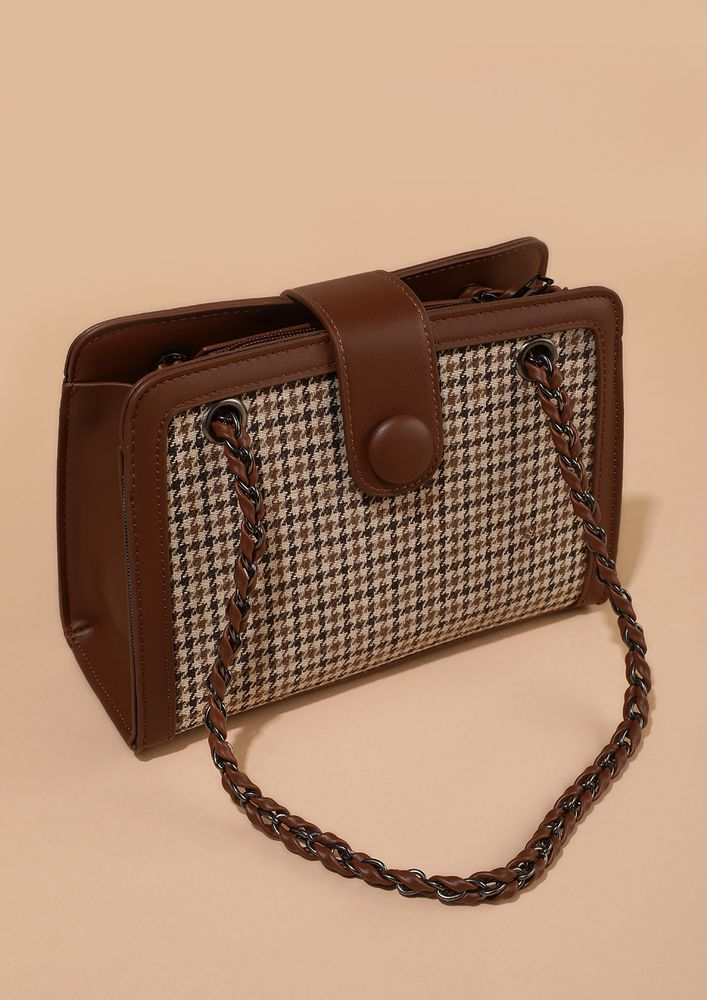 HOUNDSTOOTH OBSESSION BROWN HANDBAG