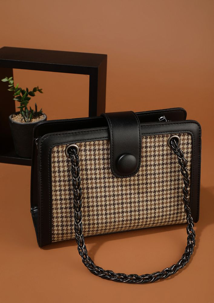 HOUNDSTOOTH OBSESSION BLACK HANDBAG
