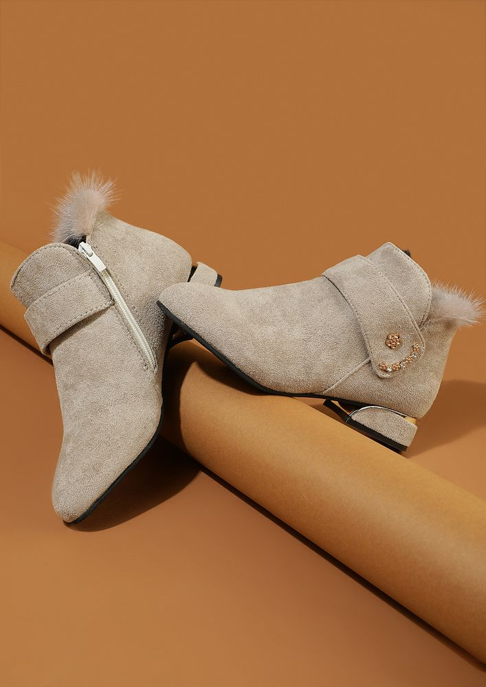 STRAP UP TO GLAM UP BEIGE ANKLE BOOTS
