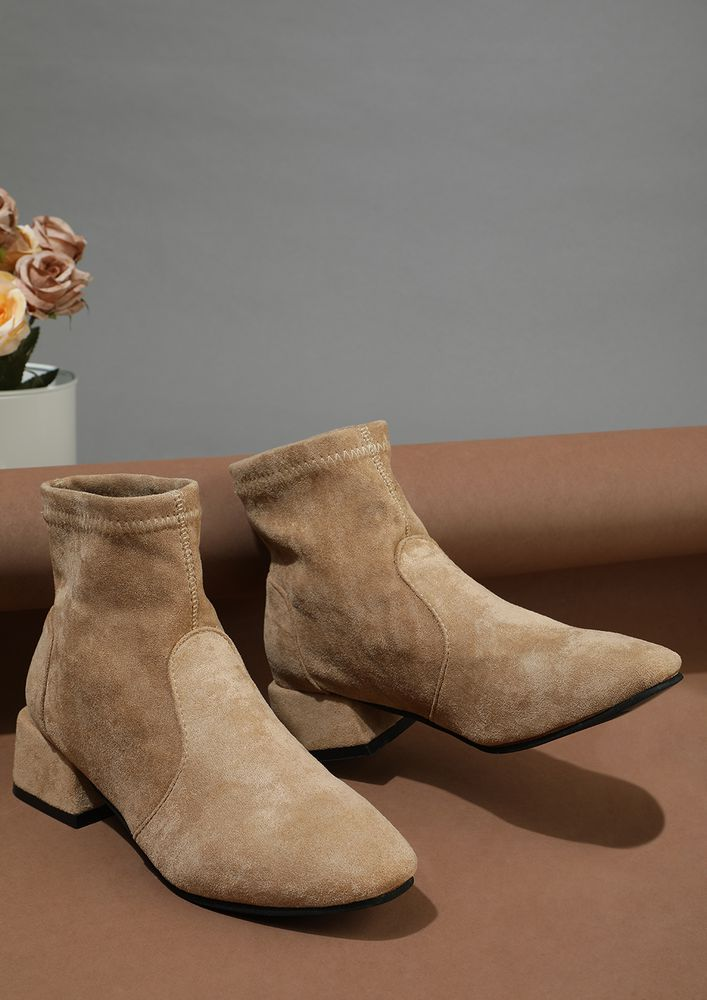 AS SMOOTH AS SUEDE BROWN ANKLE BOOTS
