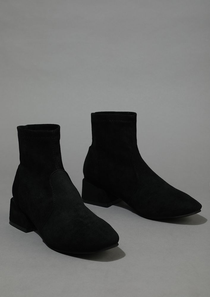 AS SMOOTH AS SUEDE BLACK ANKLE BOOTS