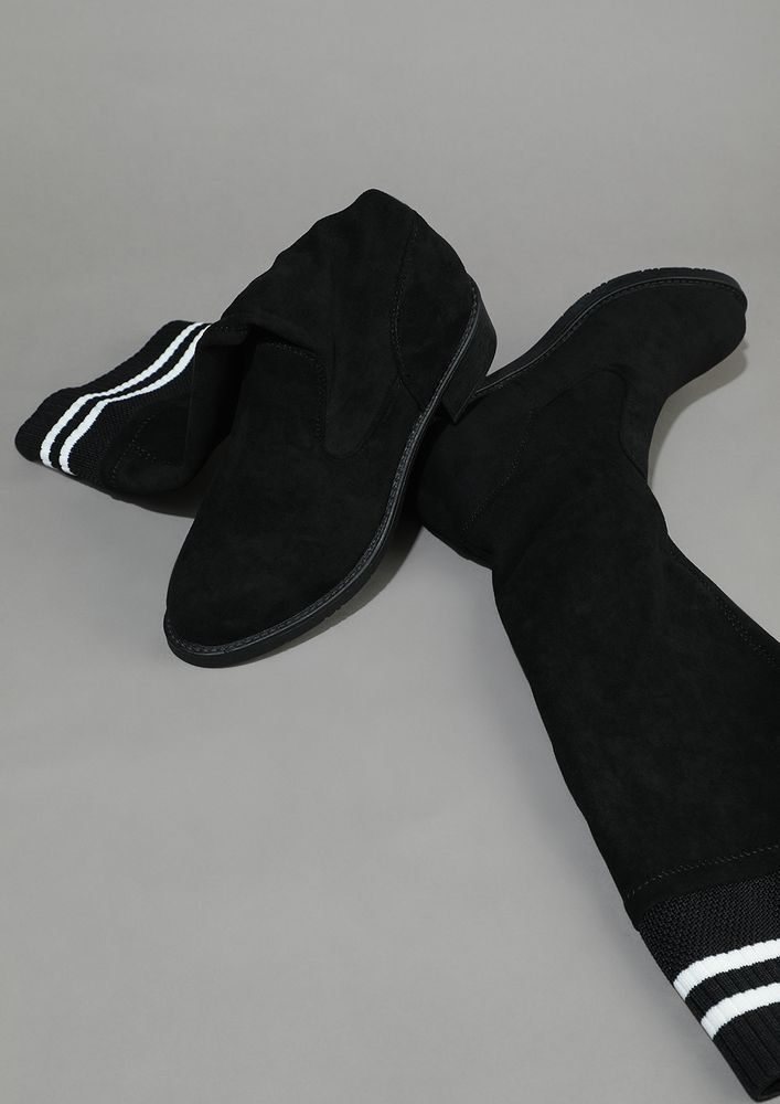 SOCK UP TO THE KNEE BLACK BOOTS