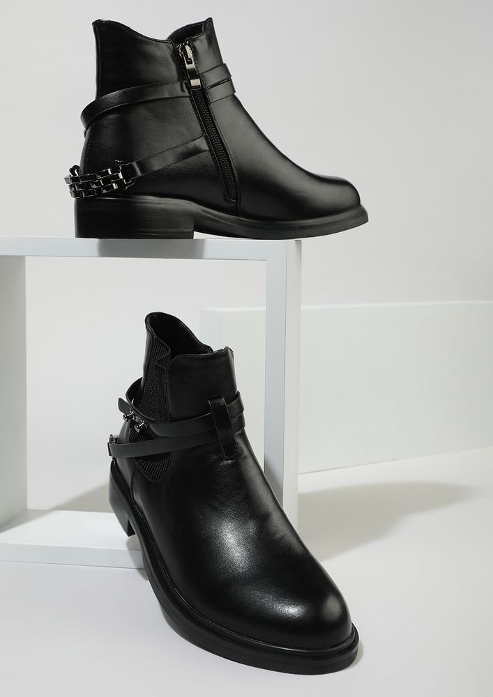 PIN THEM TO PERFECTION BLACK ANKLE BOOTS