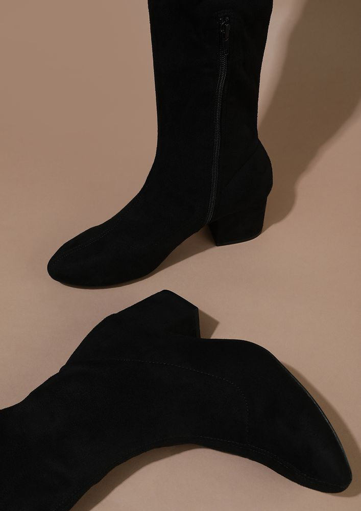 STOMPING AROUND THE TOWN BLACK CALF-LENGTH BOOTS