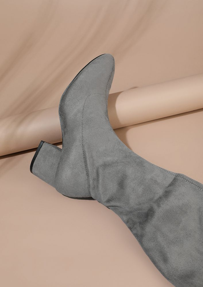 STOMPING AROUND THE TOWN GREY CALF-LENGTH BOOTS