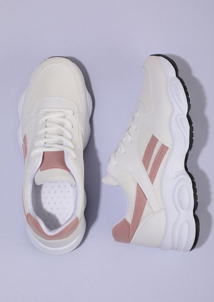 ADD SOME CHUNK WHITE PINK TAPING TRAINERS