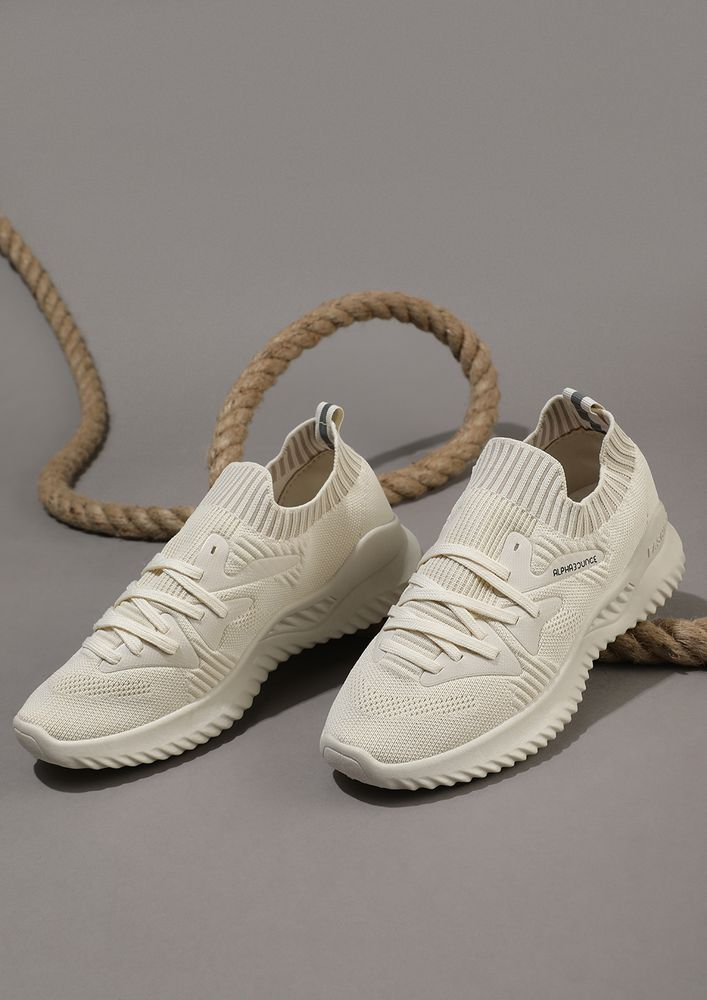 Crush the competition beige SOCK-COLLAR TRAINERS