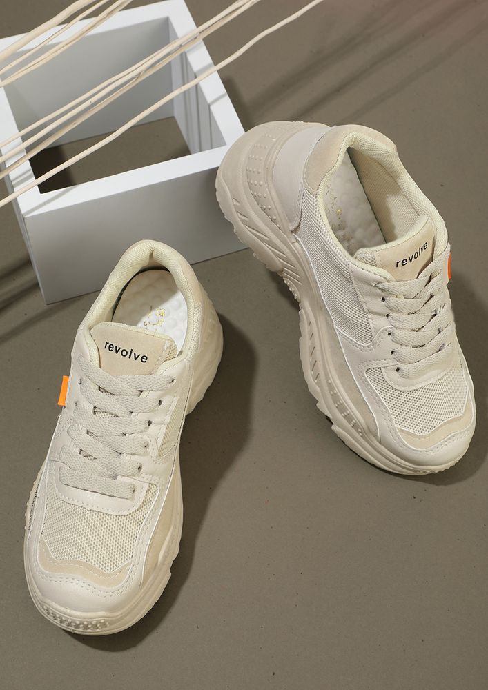 REVOLVE AROUND sports BEIGE chunky sneakers