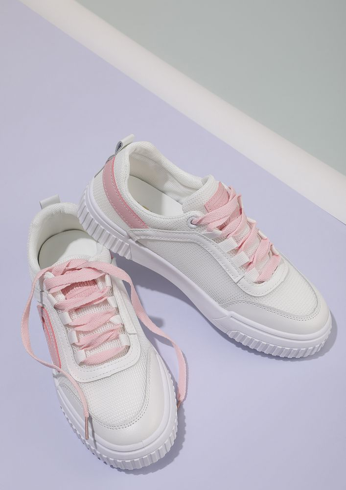 My words follow action white PINK sneakers