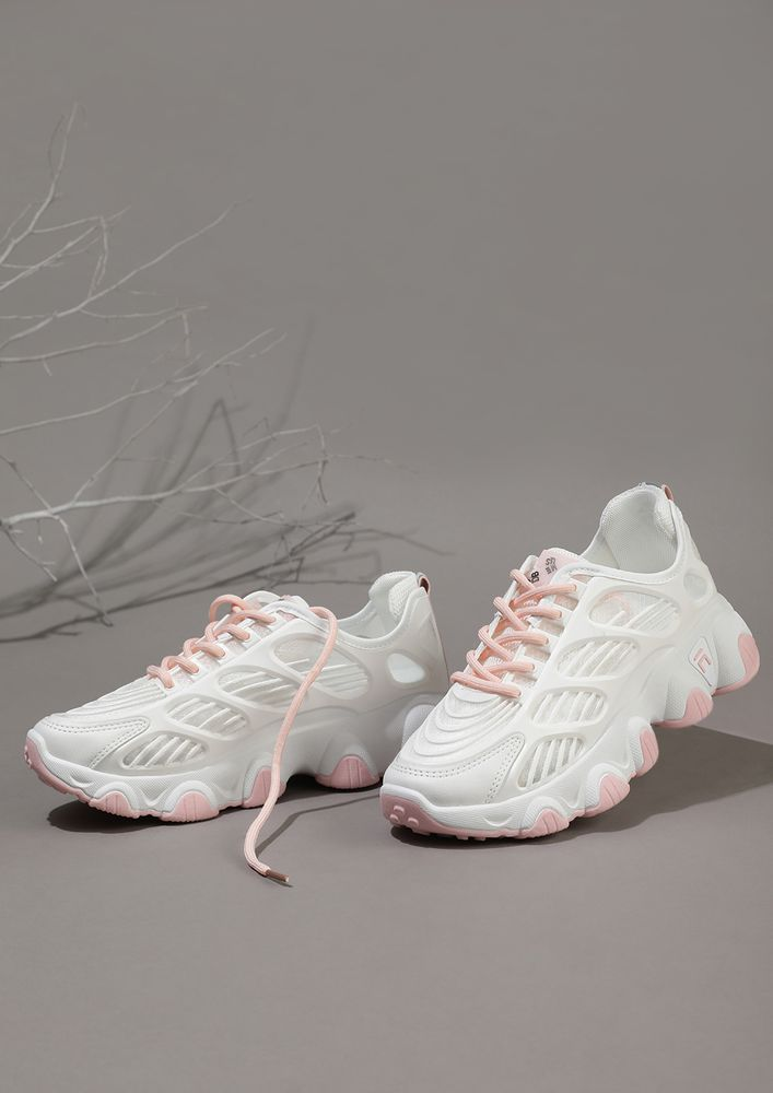 ON THE RUN PINK LACES WHITE CHUNKY SNEAKERS