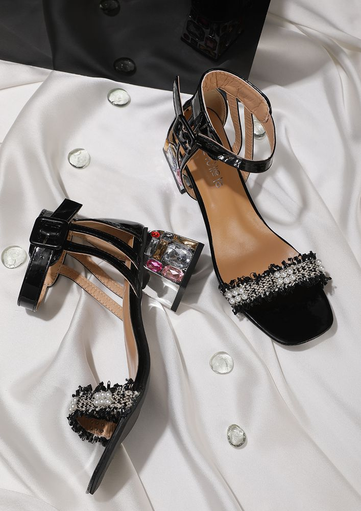 GOT SOME LUCKY GEMS BLACK HEELED SANDALS