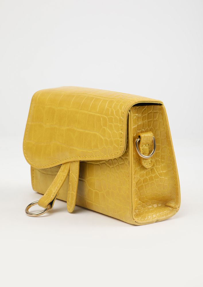 POSH AND SPICY YELLOW SLING BAG
