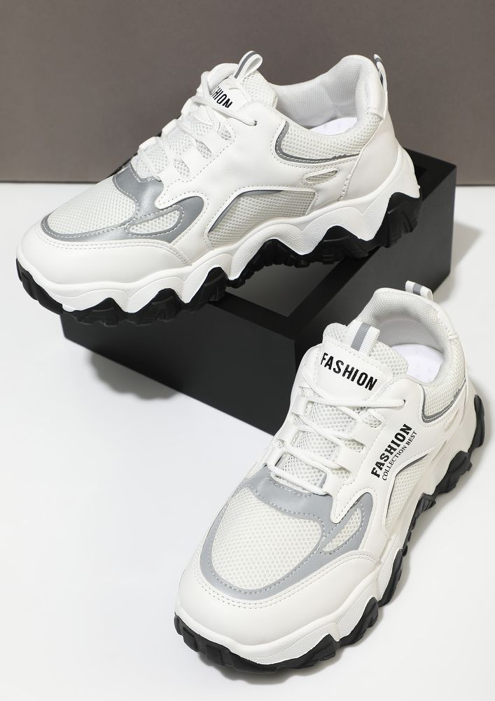 GETTING YOU ON THE TRACK GREY TRAINERS