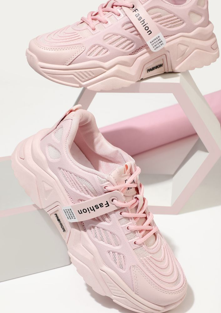 WE ACED IT PINK TRAINERS