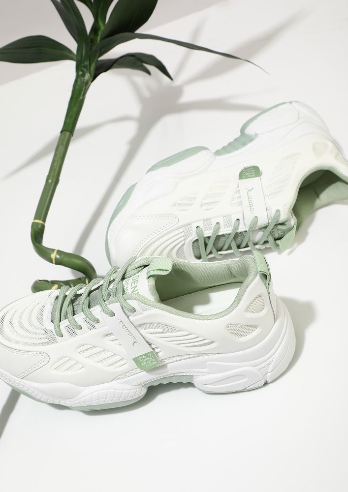 PACE UP HUSTLER GREEN TRAINERS