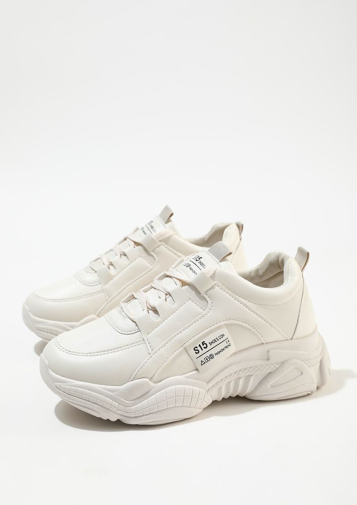 KICK START THE DAY BEIGE TRAINERS