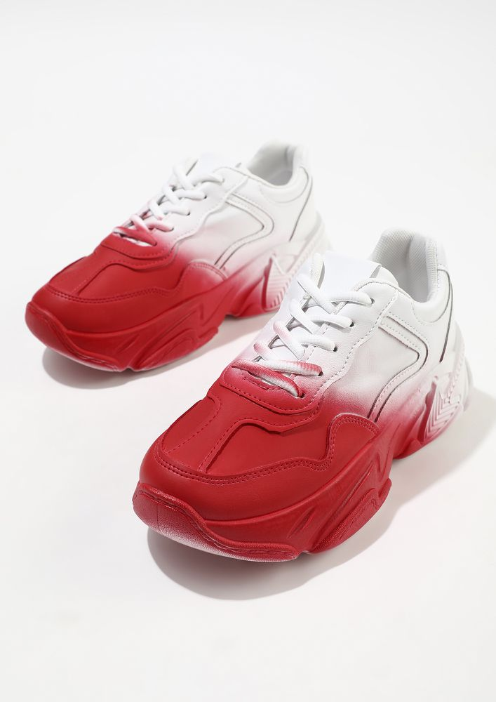 HALF AND HALF RED WHITE TRAINERS