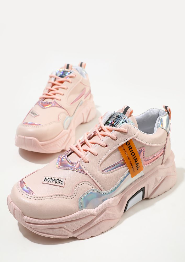CHUNK THEM UP PINK TRAINERS