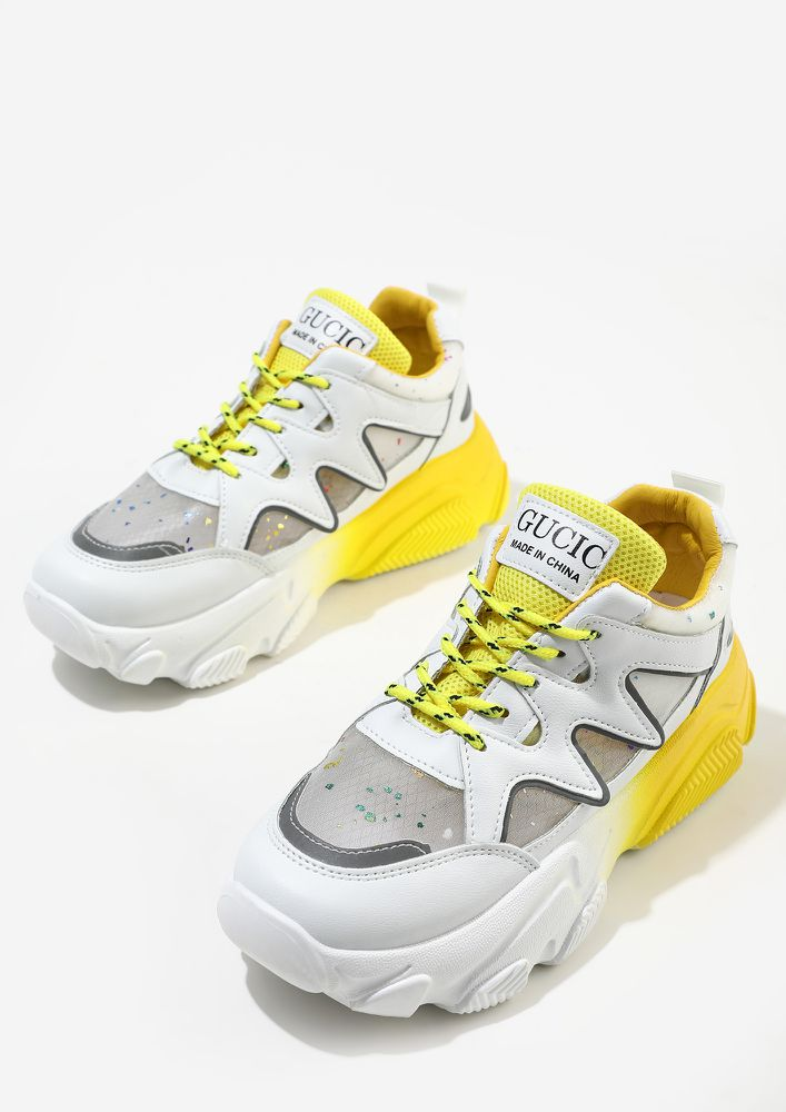 LAID ON THE COLOUR TRAILS YELLOW TRAINER