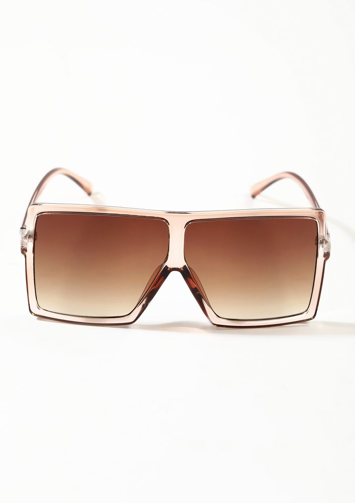 GOING UNDERCOVER TEA BROWN FLAT TOP SQUARE SUNGLASSES