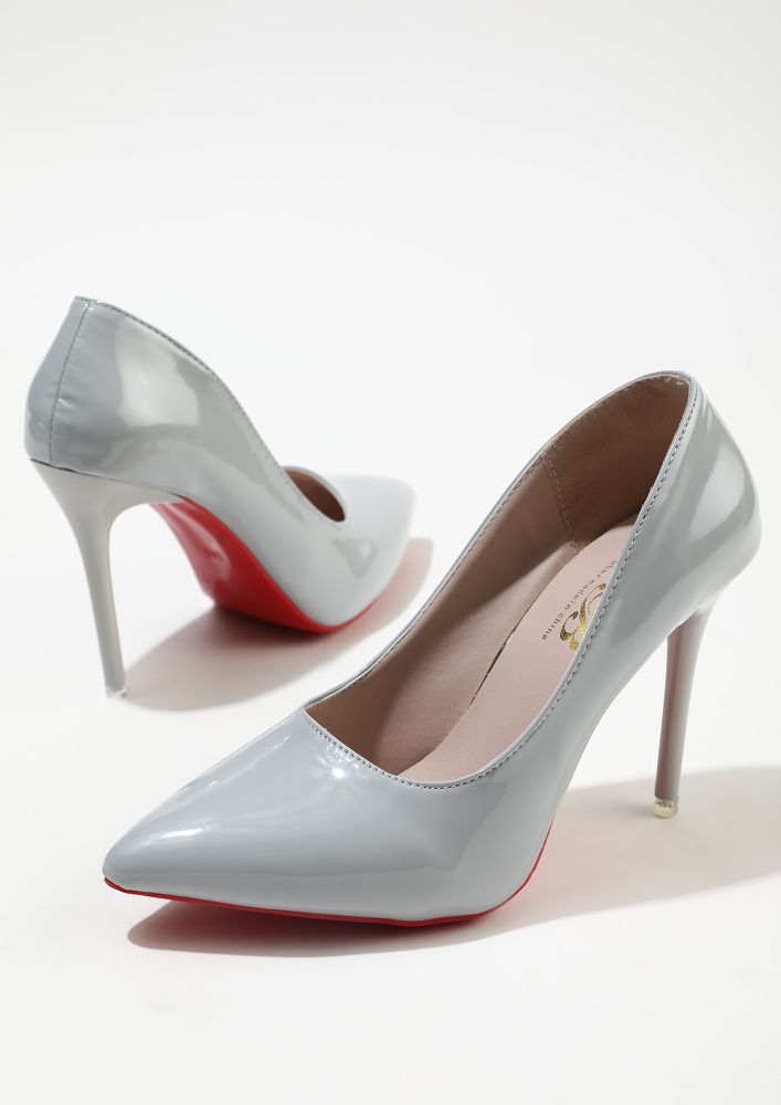 GLIMMERS OF FASHION LIGHT GREY HIGH HEELED PUMPS
