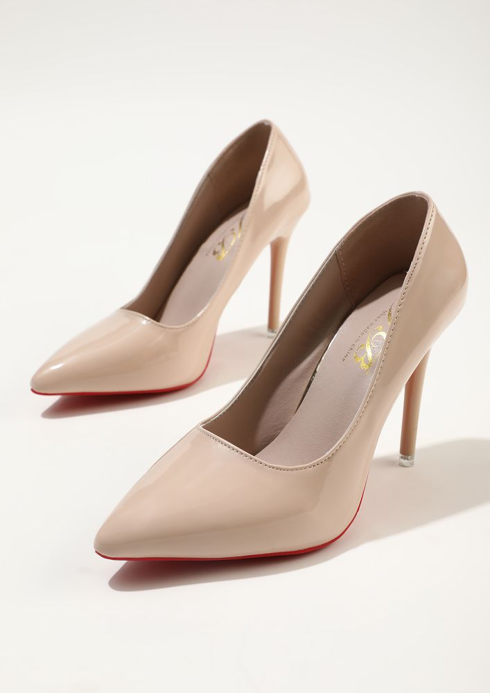 GLIMMERS OF FASHION BEIGE HIGH HEELED PUMPS