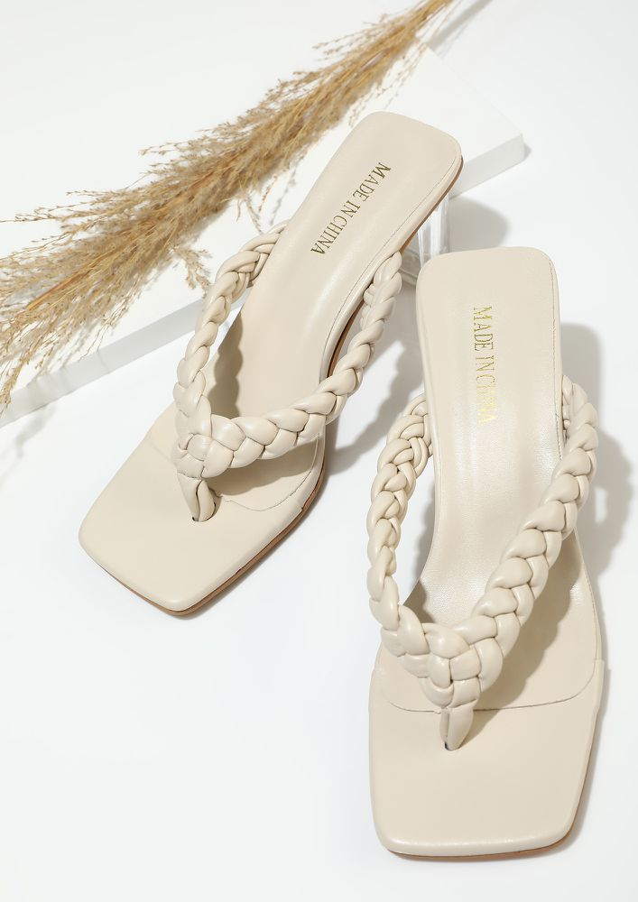 TIE TOGETHER BY FATE BEIGE HEELED SANDALS