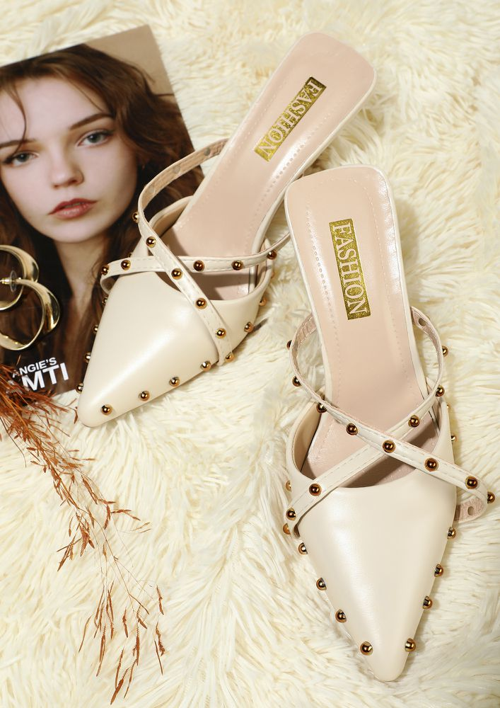TIME TO PARTY BEIGE SLIP ON PUMPS
