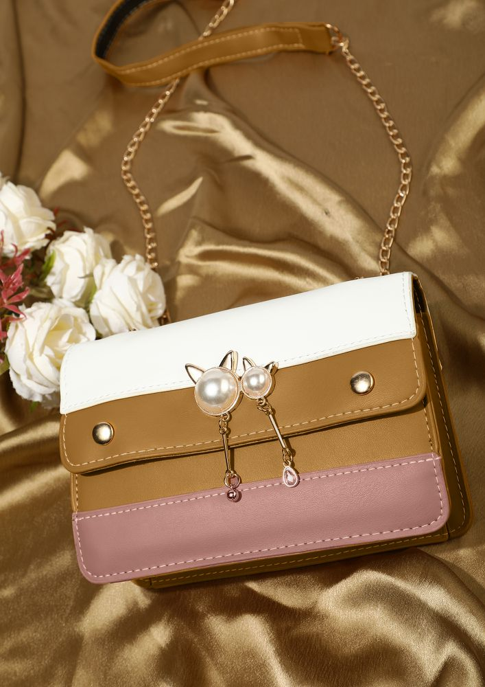 IN NEUTRAL SHADES YELLOW SLING BAG