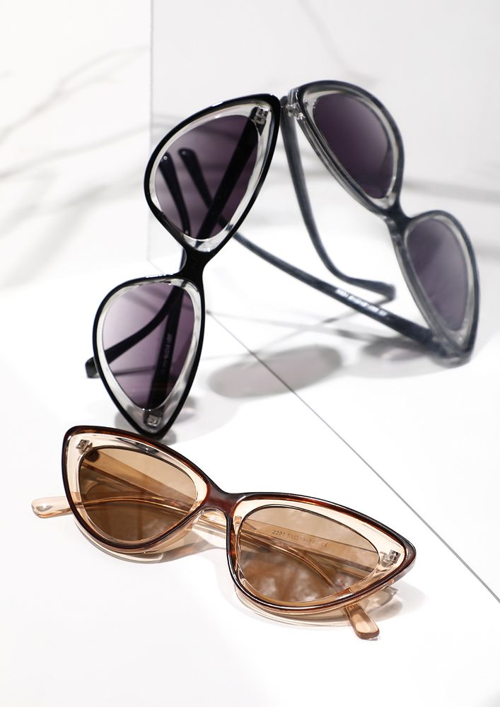 LOOKING BACK TO 80S BROWN CATEYE SUNGLASSES