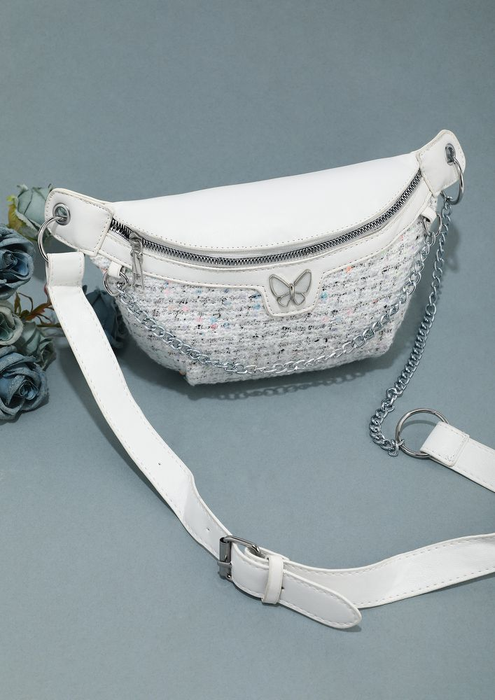 YOU ARE MY BUTTERFLY WHITE FANNY PACK