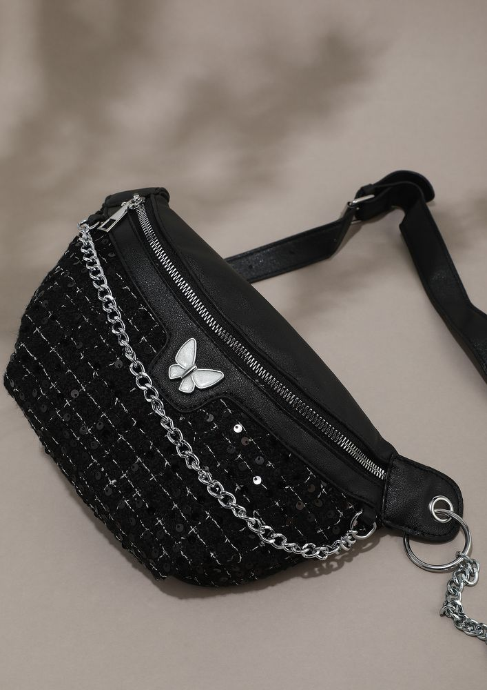 YOU ARE MY BUTTERFLY BLACK FANNY PACK