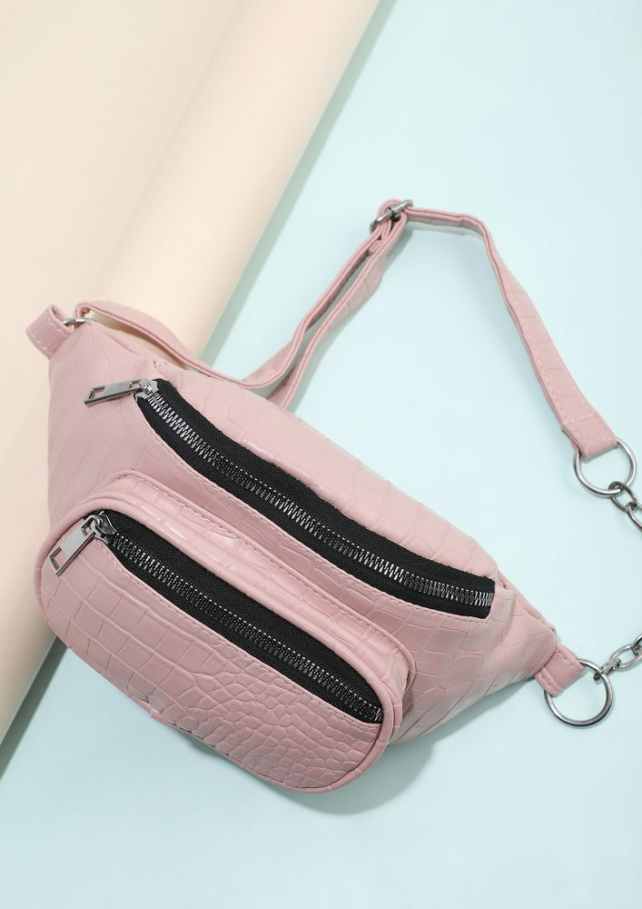 DELICATE CHOICES PINK SLING BAG