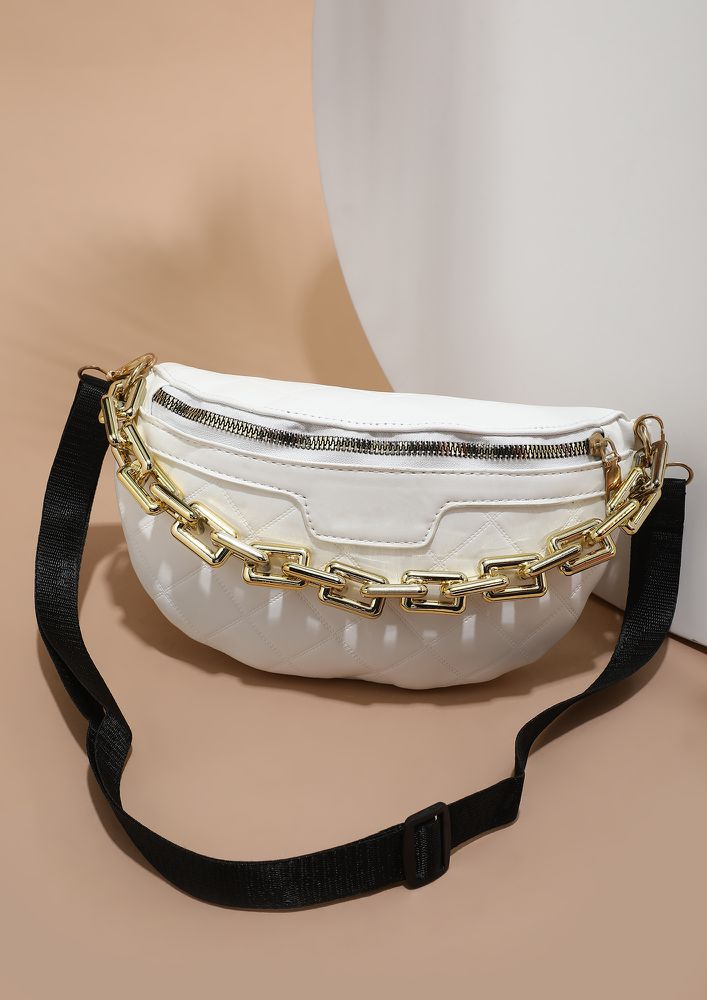 WHO FOLLOWS TREND WHITE SLING BAG